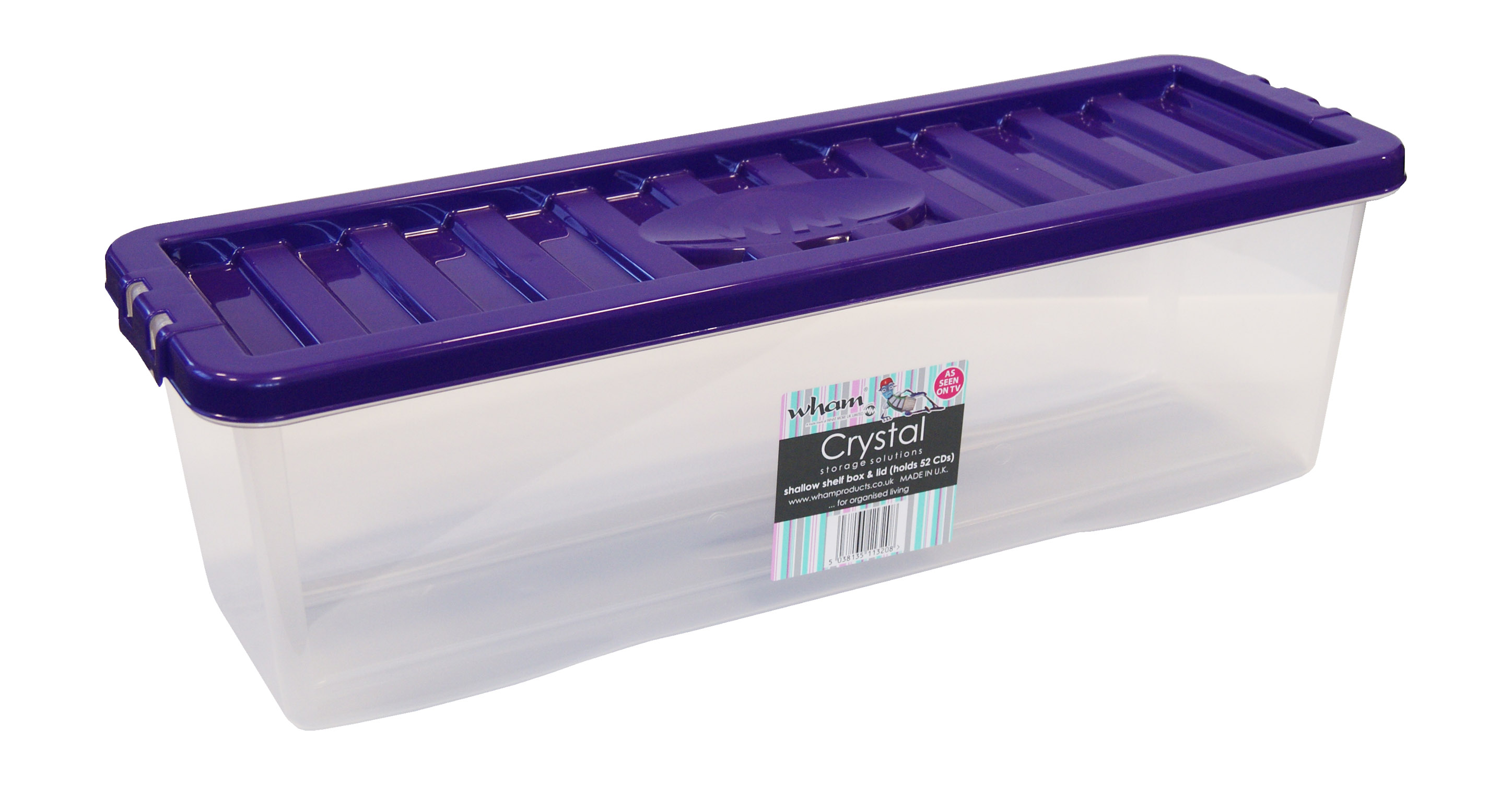 Shallow Shelf Clear Plastic Cd Storage Box With Violet Coloured Lid